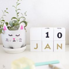 This is an easy and minimal DIY project -- a wooden block calendar. It's compact form can fit anywhere and can be used year round.