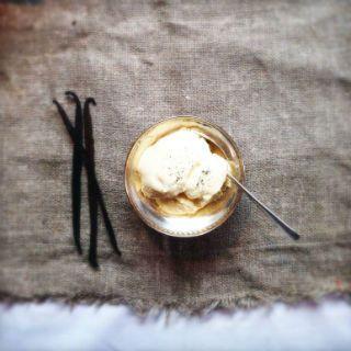 Ice-cream: classic vanilla home-made gelato