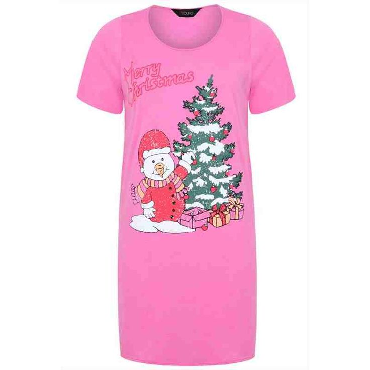 PRE-ORDER - Pink Snowman And Christmas Tree Print Nightdress $37.00 http://www.curvyclothing.com.au/index.php?route=product/product&path=95_105&product_id=8601&limit=100