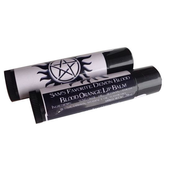 Sam Winchester has had some ups and downs.  One of the downs is definitely the consumption of demon blood.  I've created this in his honor and it has the sweet scent of Blood Orange to accompany it.    This citrus lip balm can be purchased in quantities of 1 tube, 5 tubes or 10 tubes.  That way you can purchase for yourself, to share with friends or possibly party favors.    ▼ INGREDIENTS:  Your blend will be approximately .2oz of product made from sunflower oil, cocoa butter, candelilla…