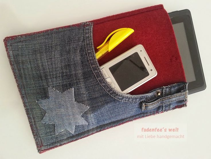 Tablet-Hülle z.T. aus Jeanshose / Tablet case partly made from old pair of jeans Upcycling