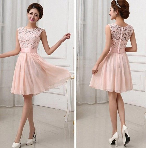 Light Pink Patchwork Lace Hollow Out Bandage Bodycon Prom Bridesmaid Mini Dress In 2018 Dresses Pinterest And