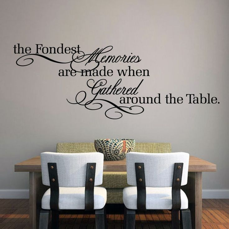 The fondest memories are made when gathered around the table.' Bring the traditional values back in to your home by eating as a family around the table. This wall quote will display beautifully as you enjoy your meal together in the dining room.