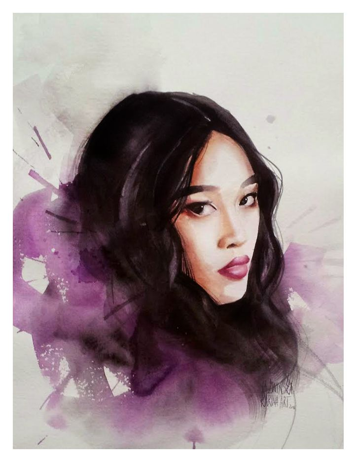 Watercolour/ Michalina/ 45x32 cm/ QoR watercolour