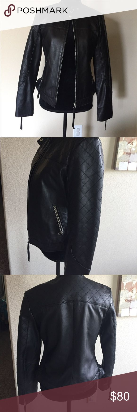 MODA International Victoria Secret Leather Jacket 100% Genuine leather jacket for sale! Silver hardware with detail on pockets and sleeves. In great condition. Moda International Jackets & Coats