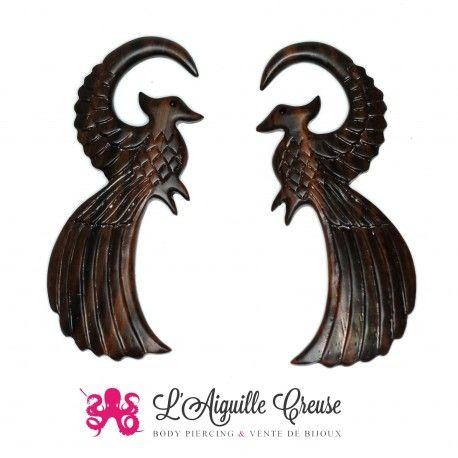 Phoenix en bois pour les oreilles écartés en petits diamètres