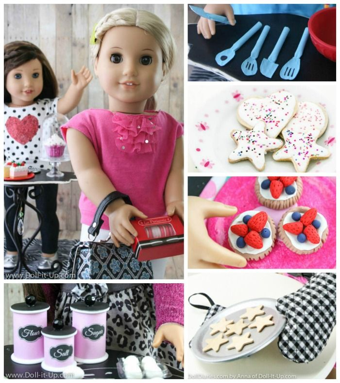 A year of projects inspired by Grace Thomas from American Girl- There are lots of fun ideas for a doll kitchen and bakery!