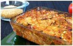 Voici une recette de gratin Camarguais salé très complet : un tian de légumes, avec des courgettes, des tomates et un oignon, du riz et du bœuf haché !