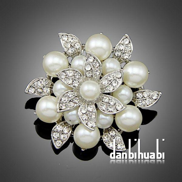 3pc/lot großhandel strass kristall hochzeit hochzeits-broschen Bouquet silber blume faux perle anstecknadeln aa-021
