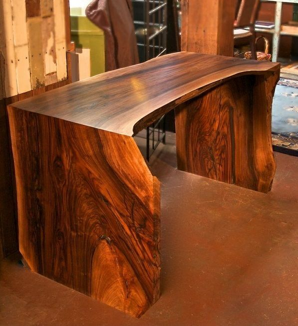 Handsome U-Shaped Slab Desk by Dalton Paull. Made from locally harvested fallen walnut tree. | WoodworkerZ.com