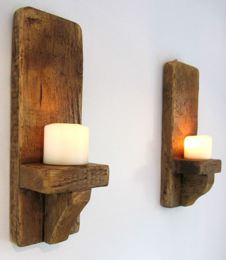 PAIR OF 39CM RUSTIC SOLID WOOD HANDMADE SHABBY CHIC WALL SCONCE CANDLE HOLDER in Home, Furniture & DIY, Home Decor, Candle & Tea Light Holders | eBay