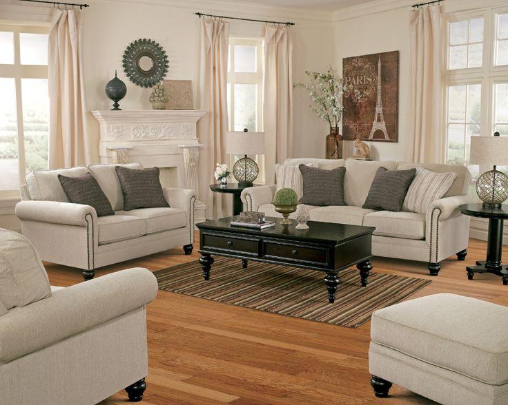 Ashley Furniture Milari 1300038 Sofa Set In Linen With Nailhead Trim