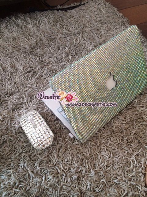 Bling and Stylish MACBOOK Case / Cover in Aurora Borealis White, AB WHITE Crystals (Air/Pro/Retina) - Optional to Add Name or Words