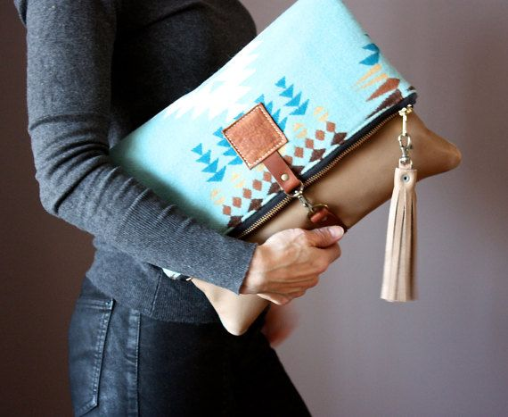 Wool and Leather fold over clutch fold over bag by VitalTemptation
