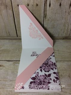 Diagonal Fold, fun Fold, Lovely Words Thinlits, Move Me thinlits, All Things Thanks, Floral Phrases, Stampin'Up! Frenchie Stamps,