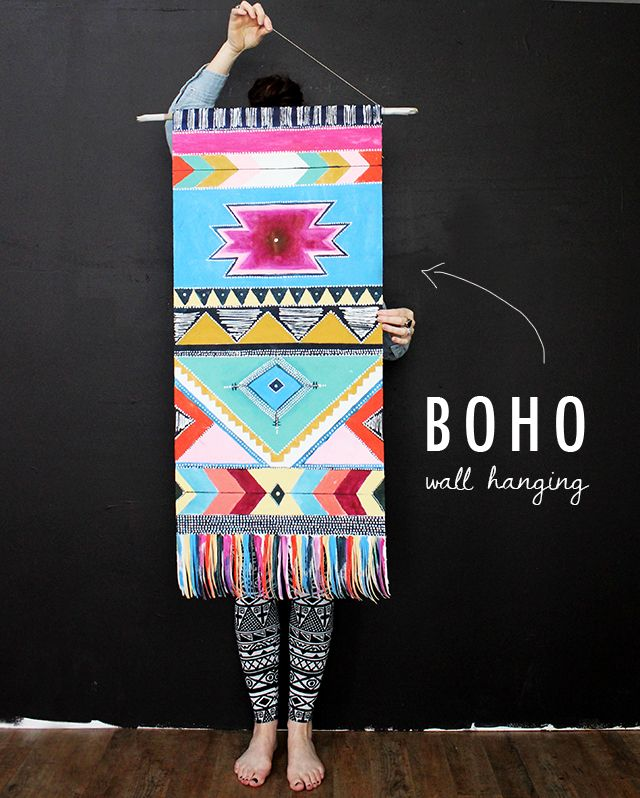 boho wall hanging, painted on canvas. Loooove this!!