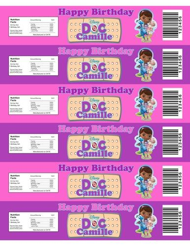 personalized doc mcstuffins water bottle labels that can