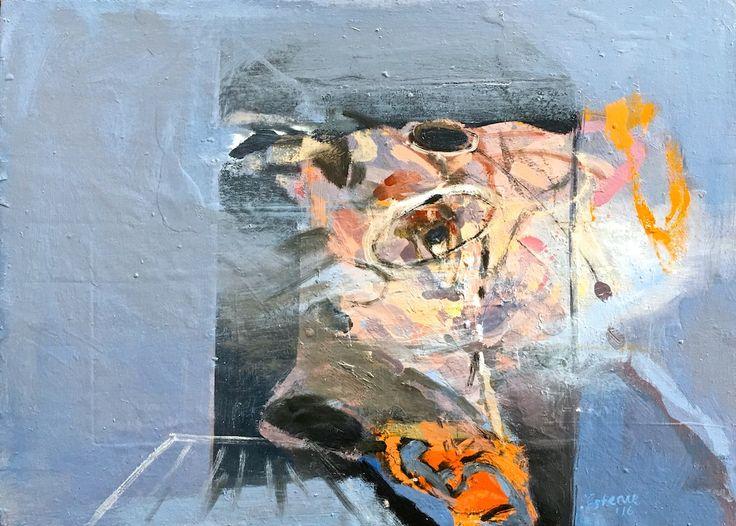 Elaine d'Esterre - Shelter at Lake Mungo, 2016, oil on panel, 50x70 cm.