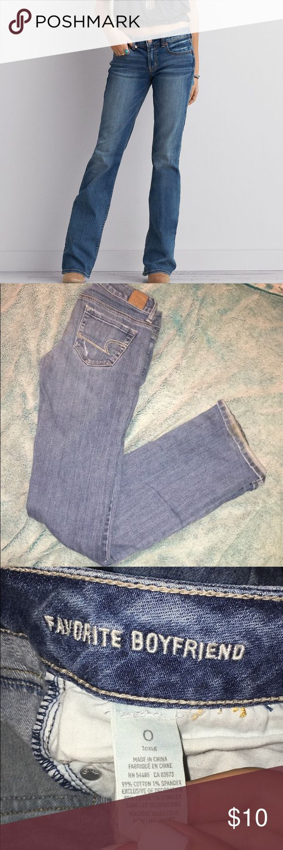 AE Favorite Boyfriend Jeans 💕 size 0 long, good condition, light-washed. favorite boyfriend style, meaning that they're a bit looser than most AE jeans(: American Eagle Outfitters Jeans Flare & Wide Leg