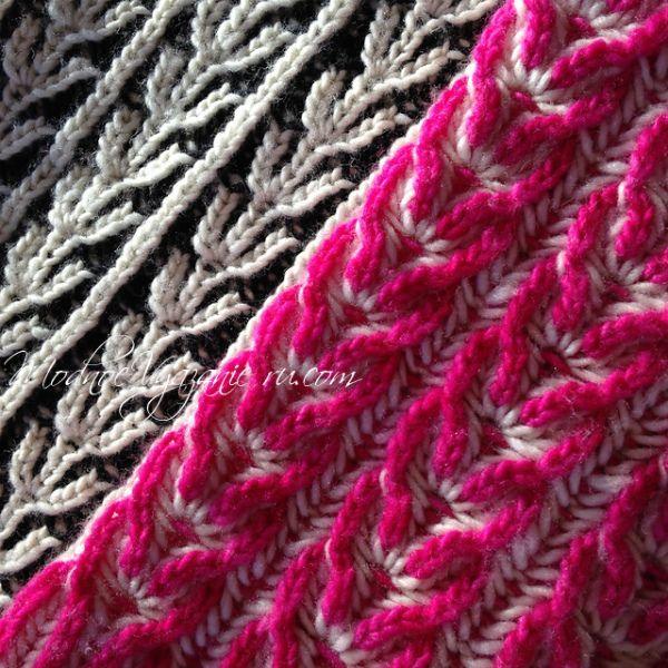 Узоры спицами  в технике бриош Такими узорами,в популярной нынче технике бриош, можно вязать любые изделия .Часто вяжут такой техникой  шарфы,снуды и шапочки,пуловеры и свитера.