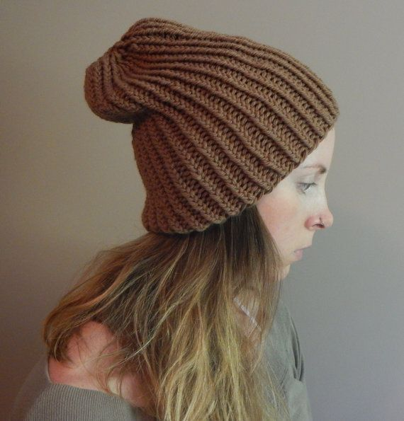 brown slouchy beanie hat slouchy brown knit by LoveEweNatural, $45.00