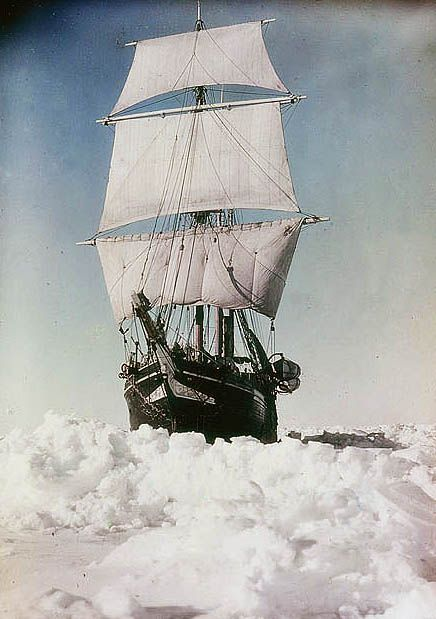 Colour photographs of Shackleton's Antarctica - The 'Endurance' under full sail, held up in the Weddell Sea, 1915