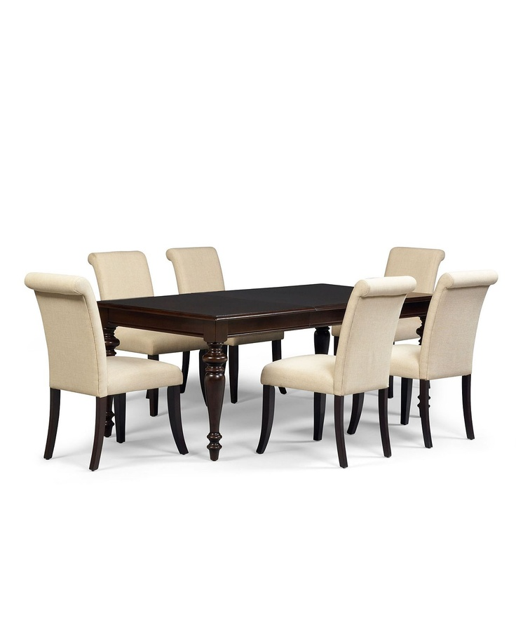 Bradford dining set at macy 39 s with upholstered chairs in for Dining room tables macys