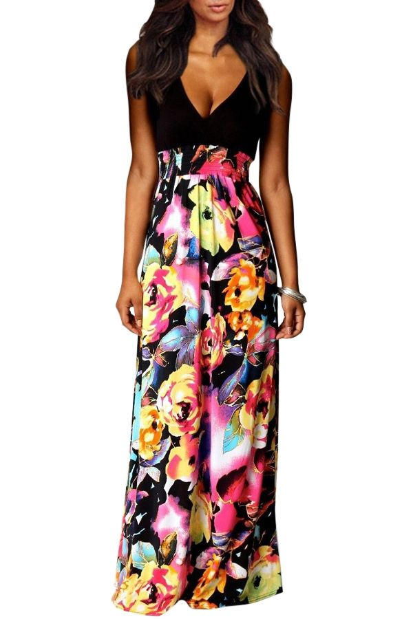 Colored Floral Sleeveless Maxi Dress
