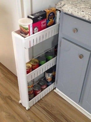 Promising review: 'It may not be beautiful, but it is a great addition to a tiny kitchen. I recently moved, and my new house has no pantry space. No closets or cubbies to convert. Just one tiny cabinet that I didn't need for my kitchen tools. This rolling pantry helps so much. I just shoved my fridge over a couple of inches, and it fit perfectly. It may not be huge, but helped so much with space. It is very sturdy and holds canned goods like a pro.' —Kim YGet it from Amazon for $21.42. Also…