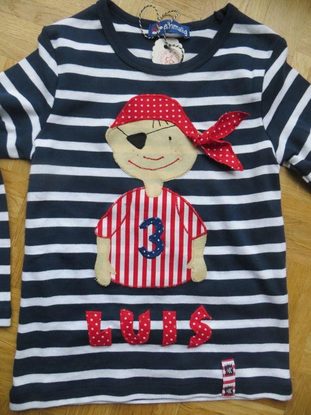Langarmshirts - Piratenshirt, Geburtstagsshirt, Namensshirt - ein Designerstück von Fischers-Schaetze bei DaWanda