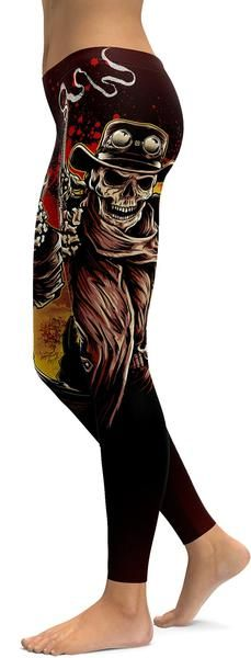 Cowboy Skeleton Leggings - GearBunch Leggings / Yoga Pants