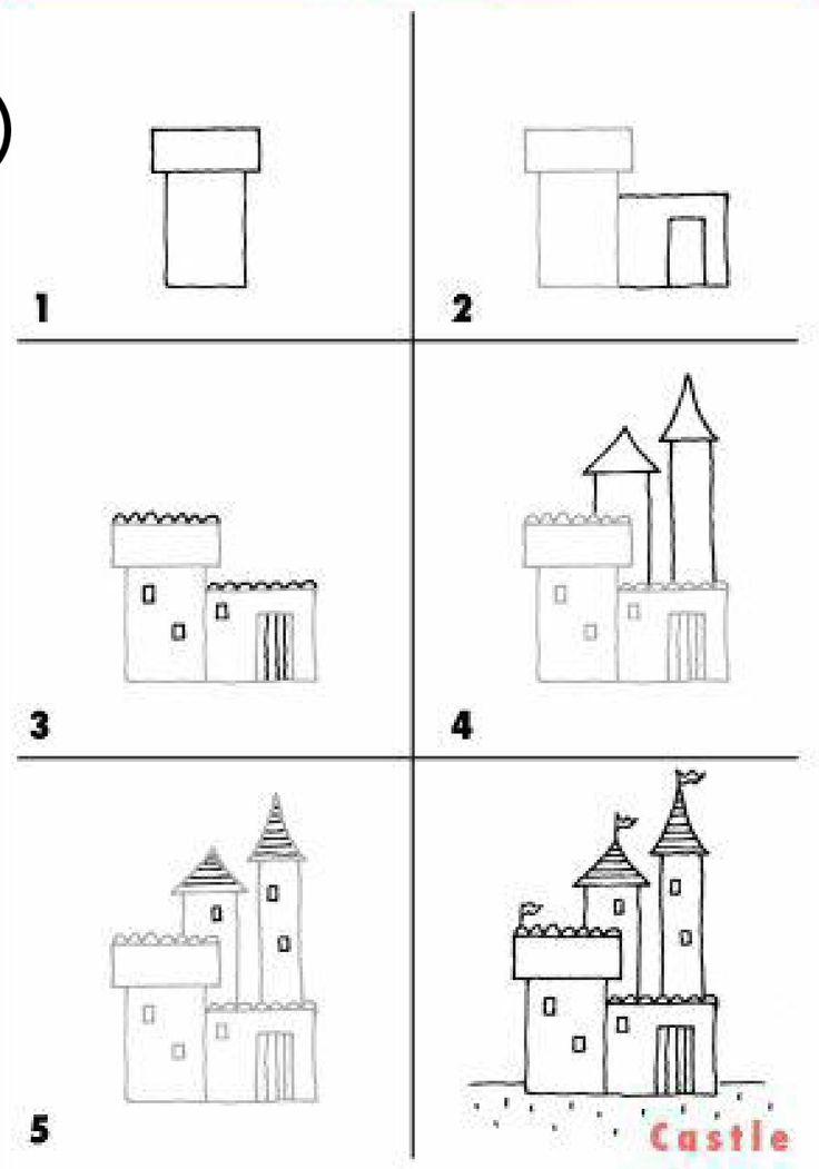 Нарисовать замок поэтапно картинки