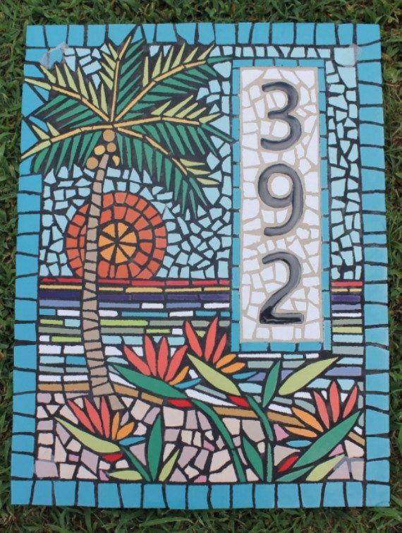 Hey, I found this really awesome Etsy listing at https://www.etsy.com/listing/462377139/mosaic-house-numbers-palm-tree-tropical