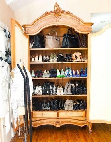 Repurpose Antique Armoires. Shoe And Bag Storage.