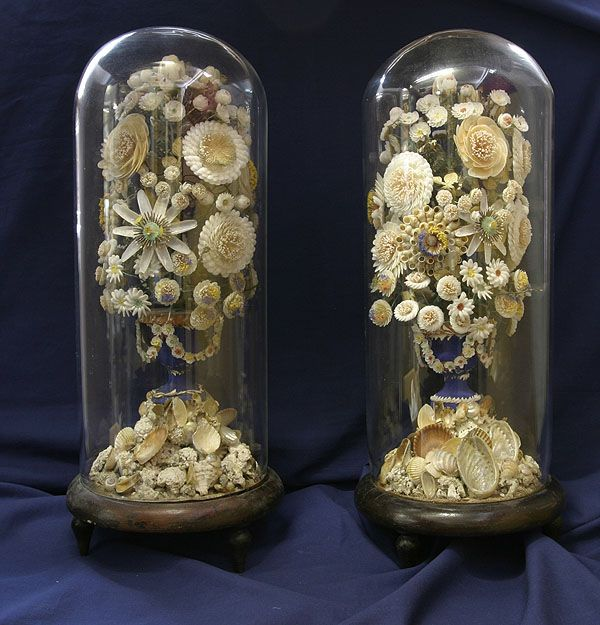 "Victorian Domed Sailor's Floral Sea Shell Valentines. Circa 1870. 19-1/2"" x 7""."