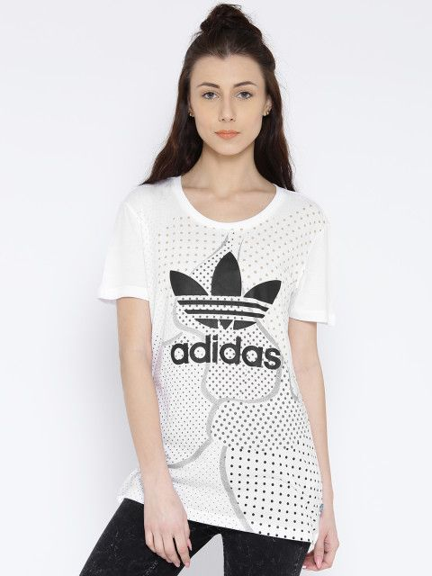 Take your sports luxe avatar to a new height with this Adidas Originals graphic tee. Adidas Originals, Adidas Originals tops, graphic printed top from Adidas Originals, white graphic printed top from Adidas Originals, athleisure fashion with Adidas Originals