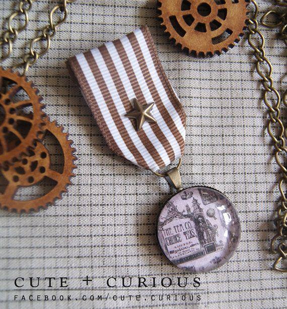 Steampunk Deiselpunk Medal Brooch Cog gear reward award pin badge