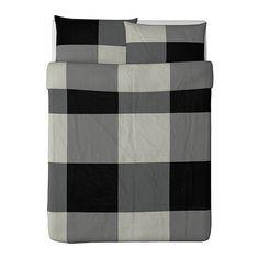 BRUNKRISSLA Duvet cover and pillowcase(s) - black/gray, Full/Queen (Double/Queen) - IKEA