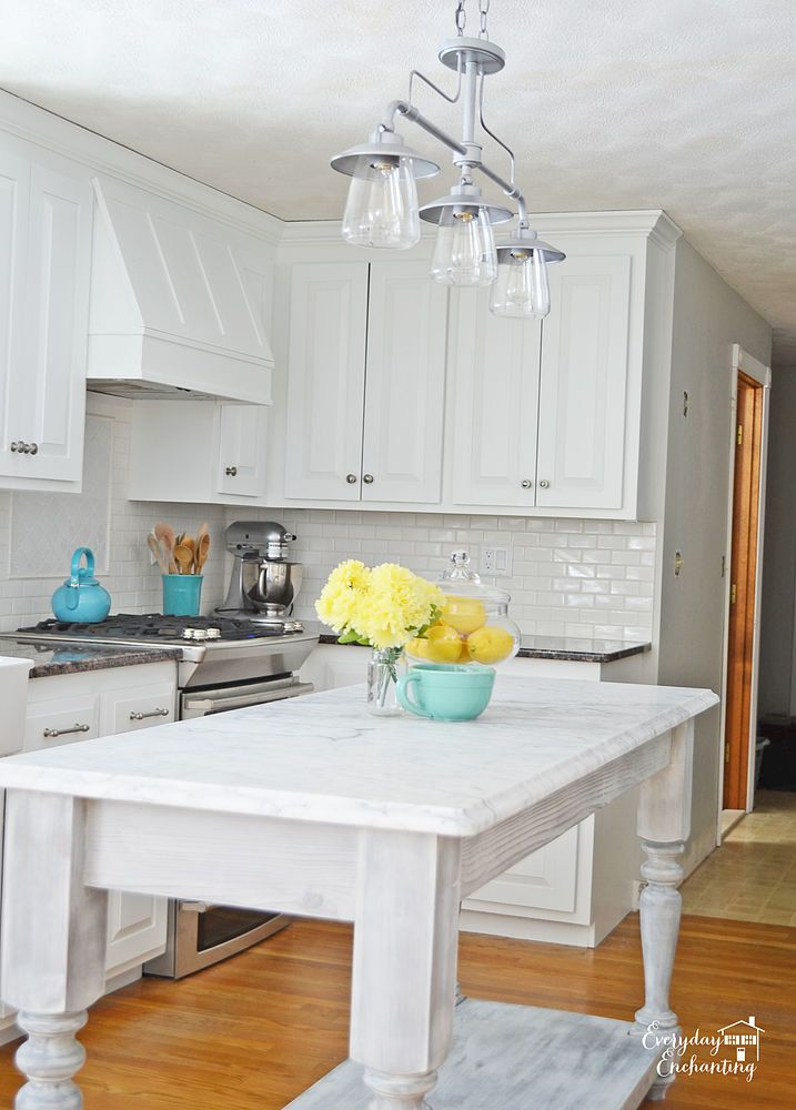 Diy white painted kitchen cabinets reveal psj kitchen for Home design kitchen decor