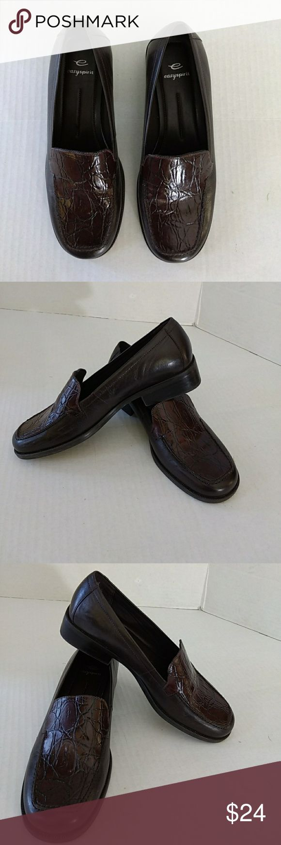 Easy Spirit Womens Shoes Leather Upper Dark brown Shoes Pre-owned Easy Spirit Shoes Flats & Loafers