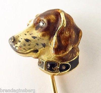 Antique Stickpin Dog Beagle Hunting Dog Gold Enamel Diamond Stick Pin (#5481)