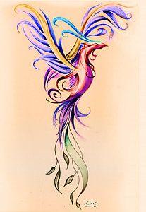 Phoenix Rising Drawing - Phoenix Color by Terri Meredith