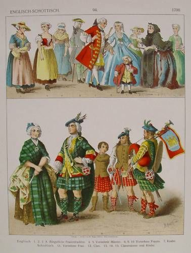 """Fashion in England and Scotland about 1700 ■■■■■■ """"Mode und Trachten im Zeitalter der Aufklärung in England und Schottland"""" - Farblithographie von Albert Kretschmer"""