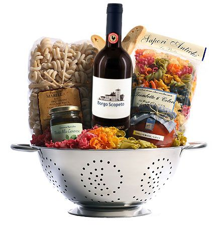 Italian themed gift basket in a colander with borgo for Christmas kitchen gift basket ideas