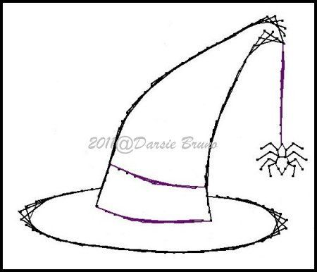 130 best halloween stichs images on pinterest embroidery for Paper witch hat template