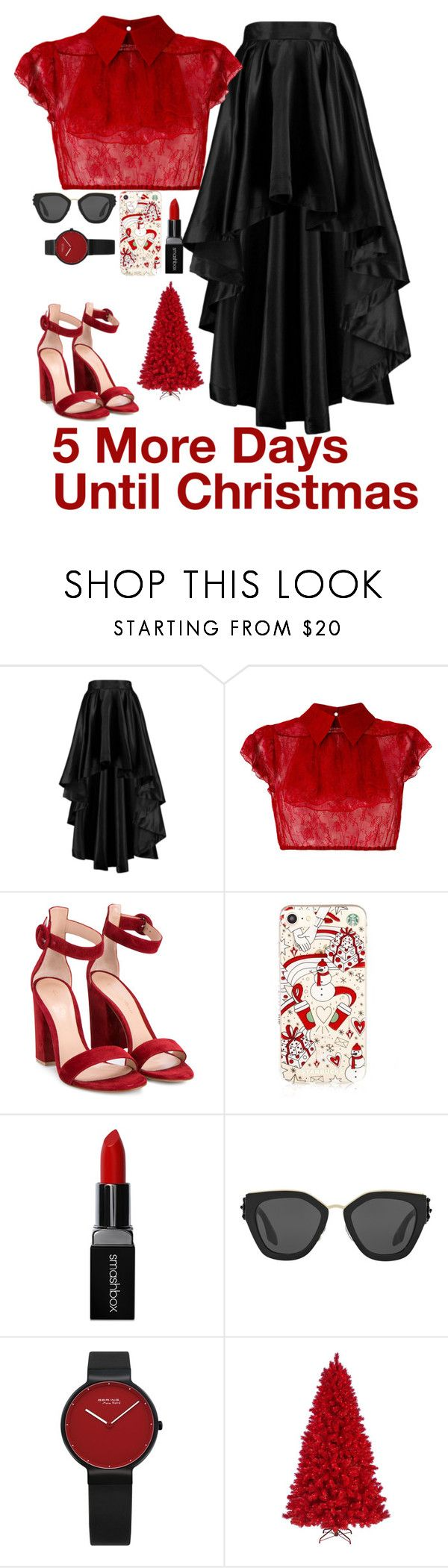 """Blood Red Christmas"" by quonton ❤ liked on Polyvore featuring Boohoo, N°21, Gianvito Rossi, Smashbox and Prada"