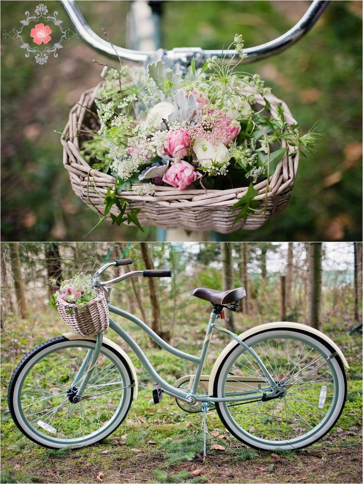 vintage bike for eco-friendly wedding!  florals by www.celsiaflorist.com  photography by www.cwilliamsphotography.ca