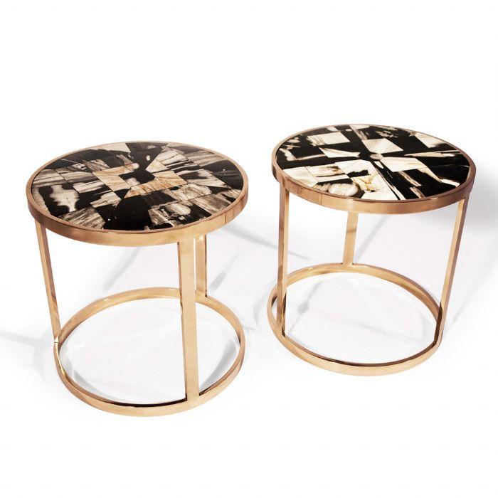 Petrified Wood End Table-hand-Cut Petrified Wood Tiles inlayed into a High Polished Bronze Frame