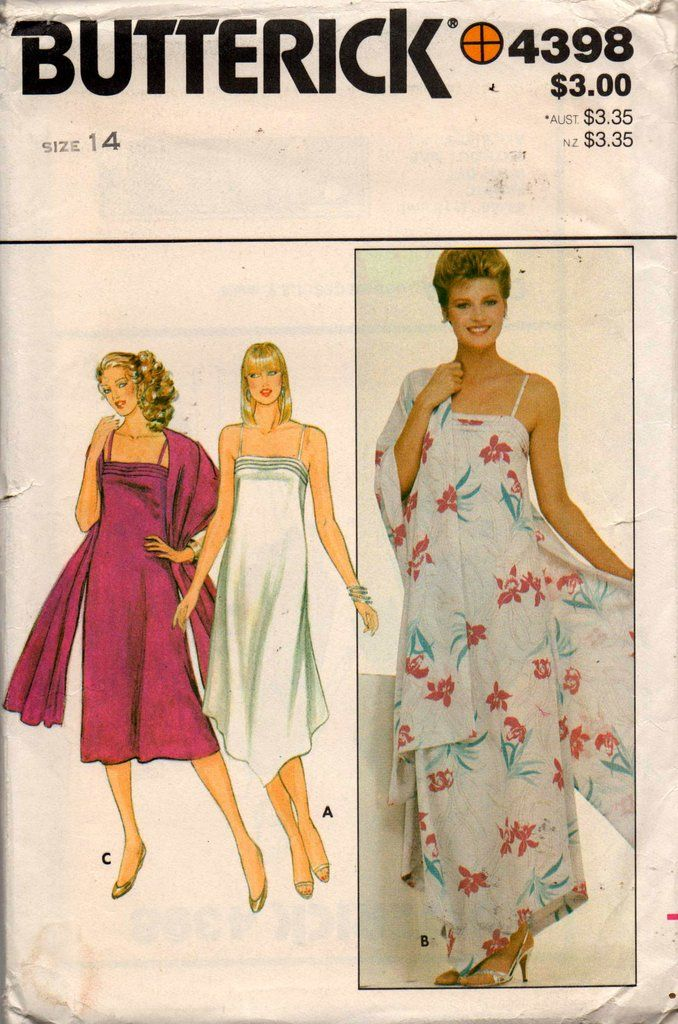 07c604ac33 Butterick 4398 Womens Sundress   Shawl 80s Vintage Sewing Pattern Size 14  Bust 36 Inches UNCUT
