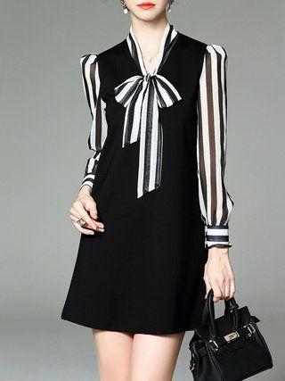 Shift Long Sleeve Cotton Casual Stripes Mini Dress